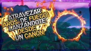 GUIA DE MISIONES SEMANA 10 FORTNITE ATRAVIESA CIRCULOS DE FUEGO DESDE UN CAÑON