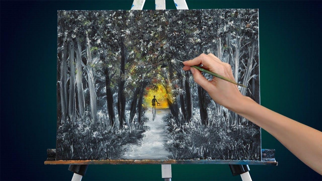 Фантастический лес. Как нарисовать пейзаж маслом Лес. Картины маслом для начинающих Пейзажи