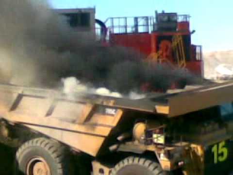 Burning coal truck