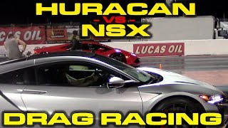 2019 Acura NSX vs Lamborghini Huracan LP610-4 1/4 Mile Drag Racing