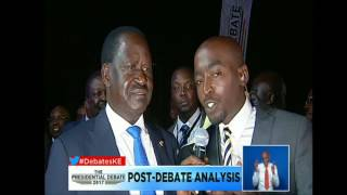 RAILA ODINGA arrives at the debate venue