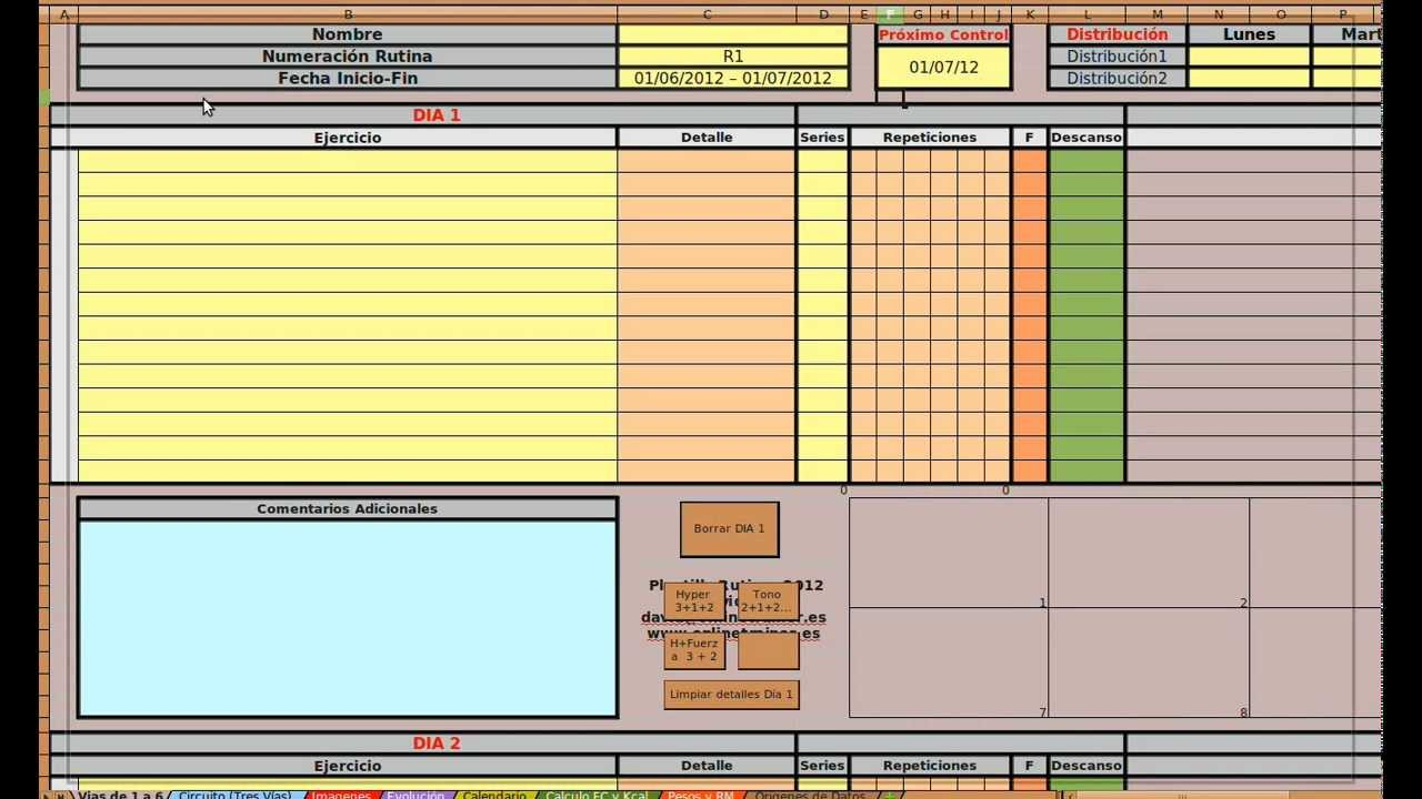 Plantilla Para Crear Y Dise 241 Ar Rutinas Y Planing De