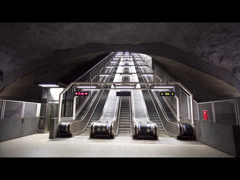 Sweden, Stockholm, Solna Strand subway station, 1X KONE inclined elevator, 2X escalator