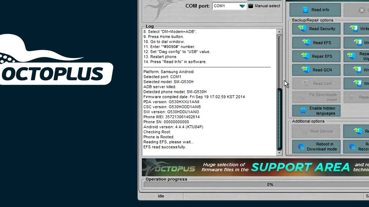 Samsung SM-G530H - Repair EFS - Octoplus Box: unlock and repair tool