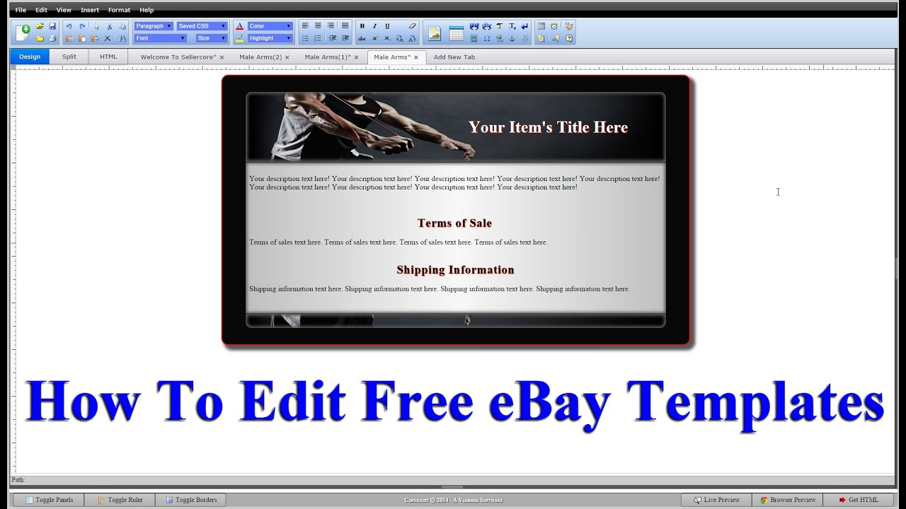 How to edit html code for free ebay templates step by step for Free ebay templates html download