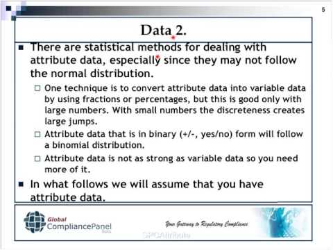 Statistics for Quality Control and Process Validation Statistical Process Control SPC for Attribute