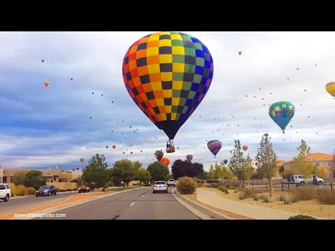 Hot Air Balloons Over ABQ Neighborhood  - Albuquerque International Balloon Fiesta