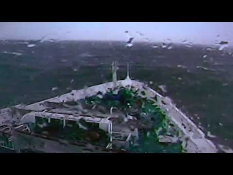MV Discovery sails through a force 9-10 South Atlantic gale