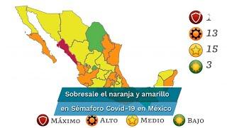 De acuerdo a la Secretaría de Salud las entidades catalogadas en verde son Aguascalientes, Chiapas y Coahuila; y en rojo, sólo está Sinaloa