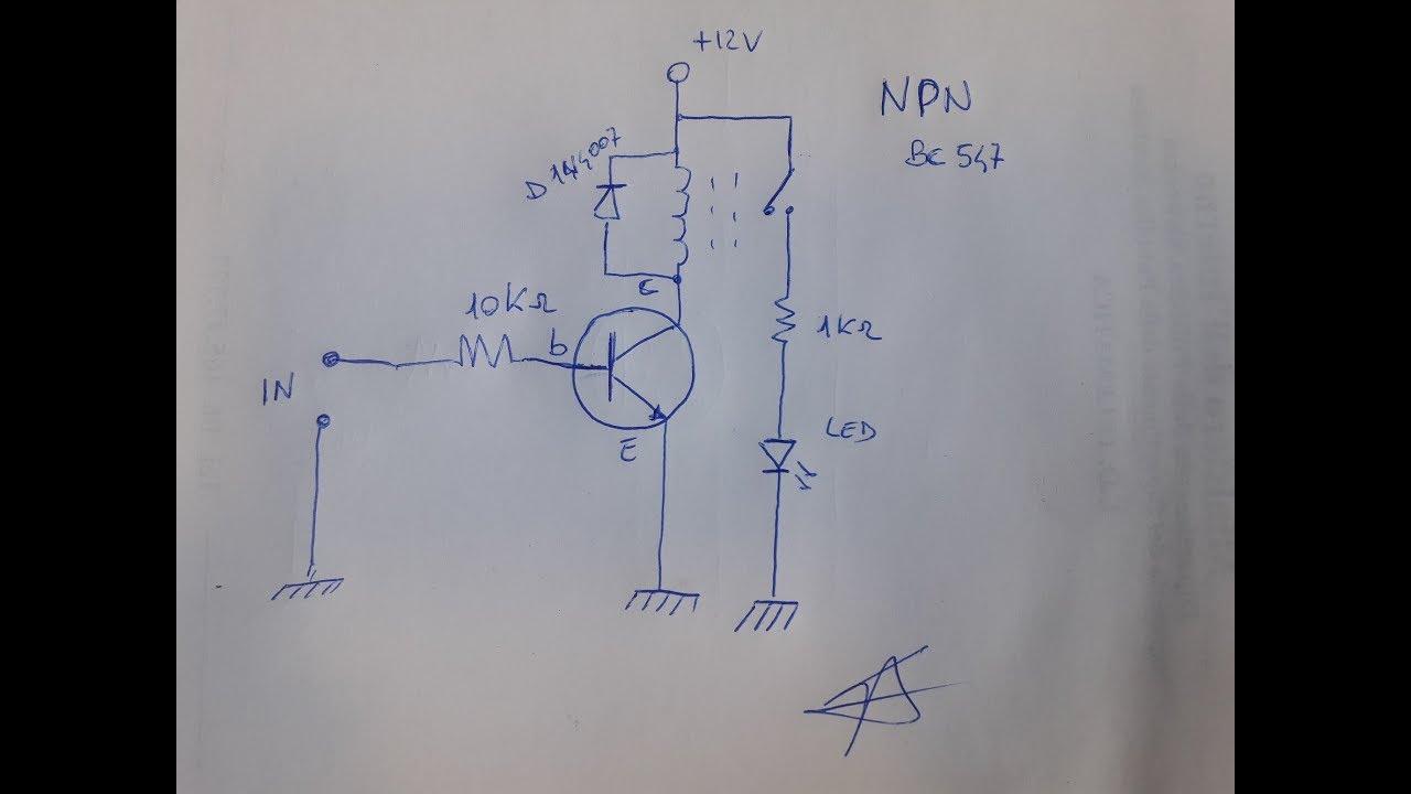Schemi Elettrici Rele : Circuito per pilotare rele con transistor npn youtube
