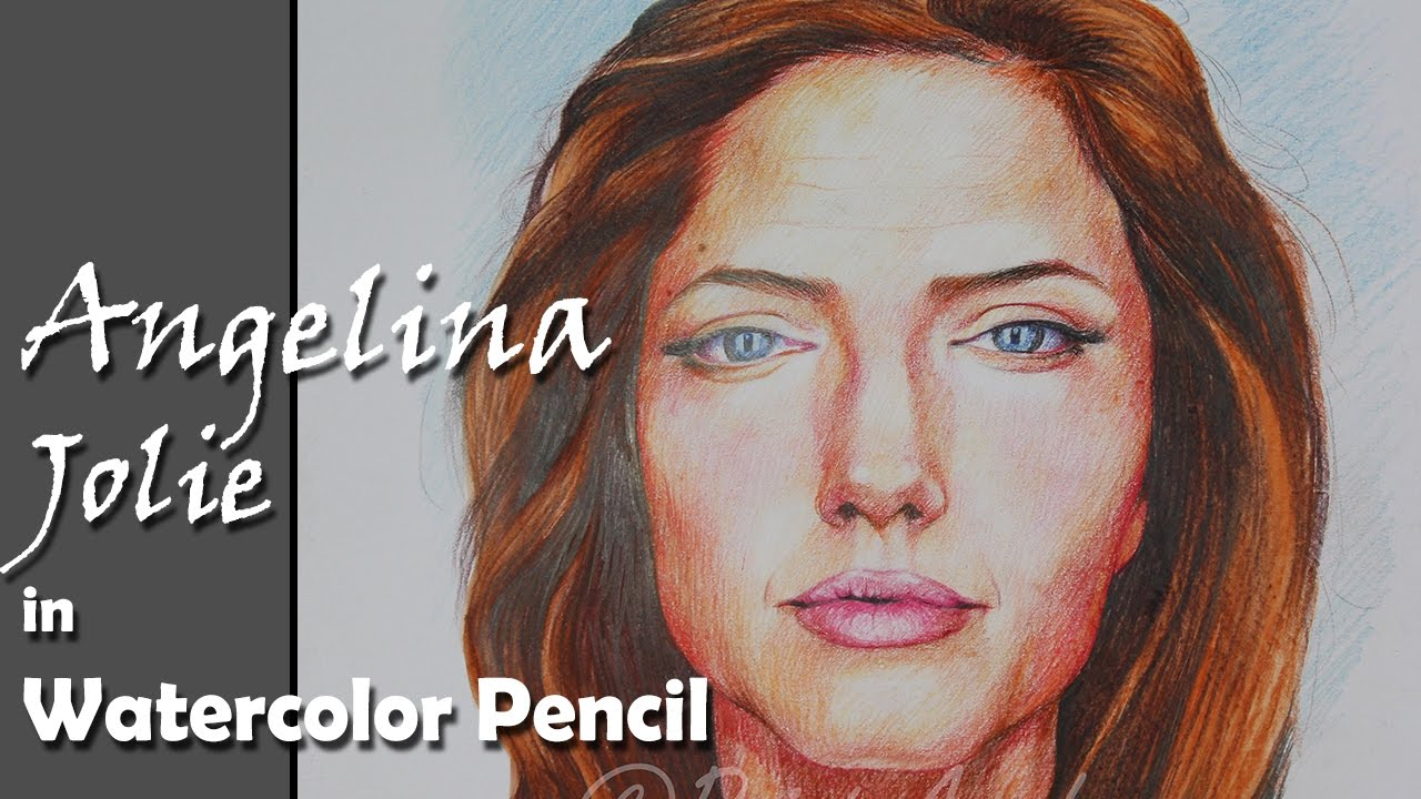 Portrait painting how to paint angelina jolie in watercolor pencil