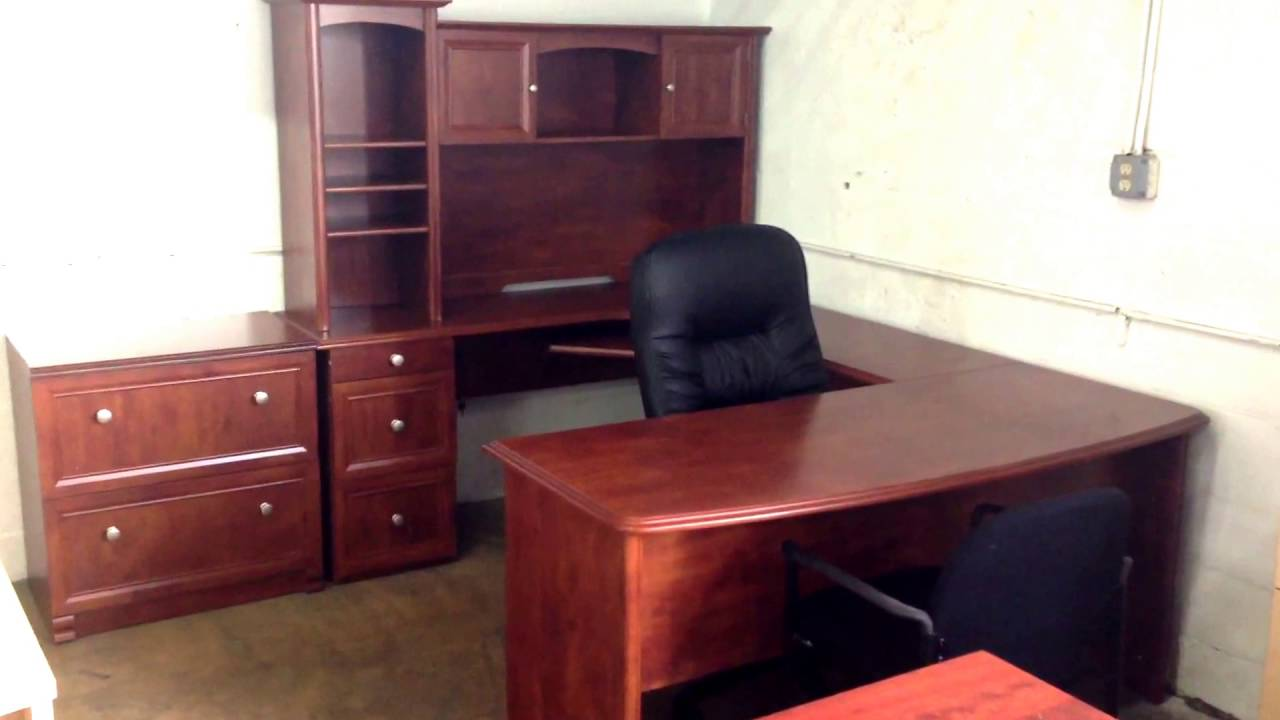 broad street ushaped executive desk available in mahogany starting at office furniture youtube