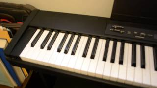 Yamaha P-80 Piano Keyboard with amplifier, stand & foot pedal.