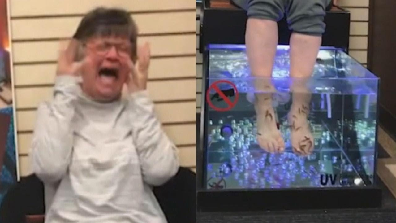 This woman can 39 t stop laughing while getting a fish for Fish spa near me