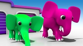 Cartoons Elephants Garage to Learn Colors for Children - 3D Kids Learning Videos