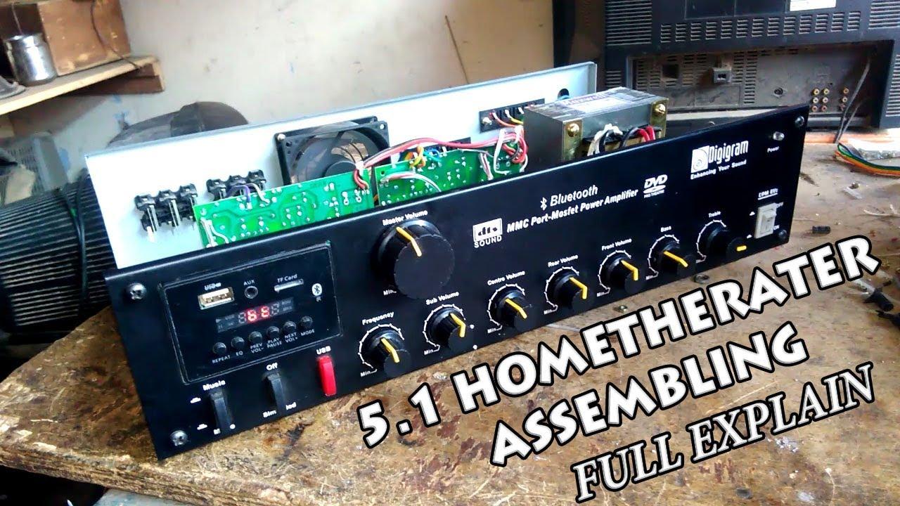how to make 5 1 hometheater amplifier bluetooth stk 4191 stk4392 tda2030x5 full explained full hd [ 1280 x 720 Pixel ]