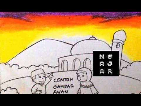 Tehnik Mewarnai Awan Sore Dengan Crayon Lomba Tk Sd 1 Youtube