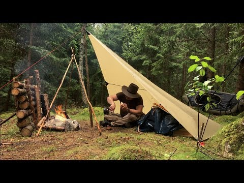 Camping Under a Tarp in Heavy Rain - Bread Baking - Campfire Cooking - Solo Wild Camping - Painting