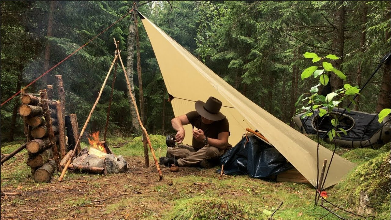Camping Under a Tarp in Heavy Rain - Bread Baking ...