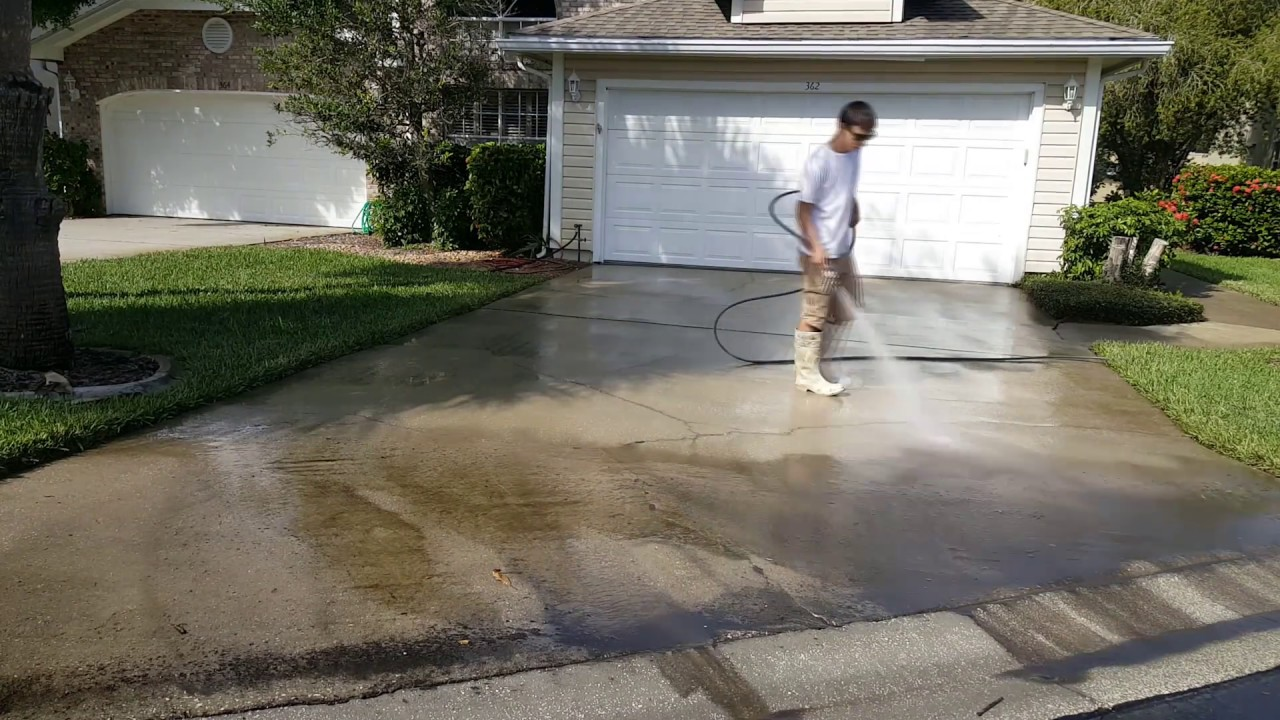 Pressure Washing Concrete Driveway 1080p Hd You