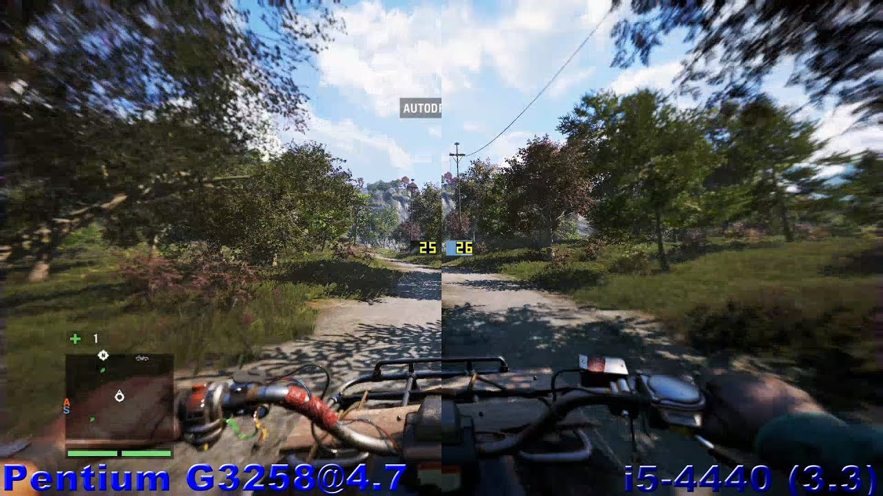 Pentium G3258 vs i5 4440 (R9 280) in 12 games (tests only) 1080@60fps