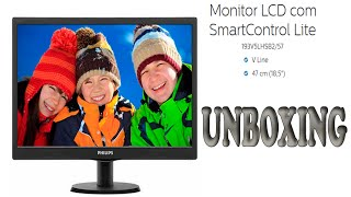 "Unboxing Monitor Philips LED 18.5"" 193V5LHSB2 / Ligando e Testando o Menu"