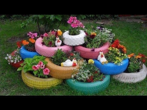 como decorar jardines con llantas recicladas youtube. Black Bedroom Furniture Sets. Home Design Ideas