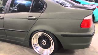 2004 bmw 330i slammed with stretched tires bbs rims and matte paint