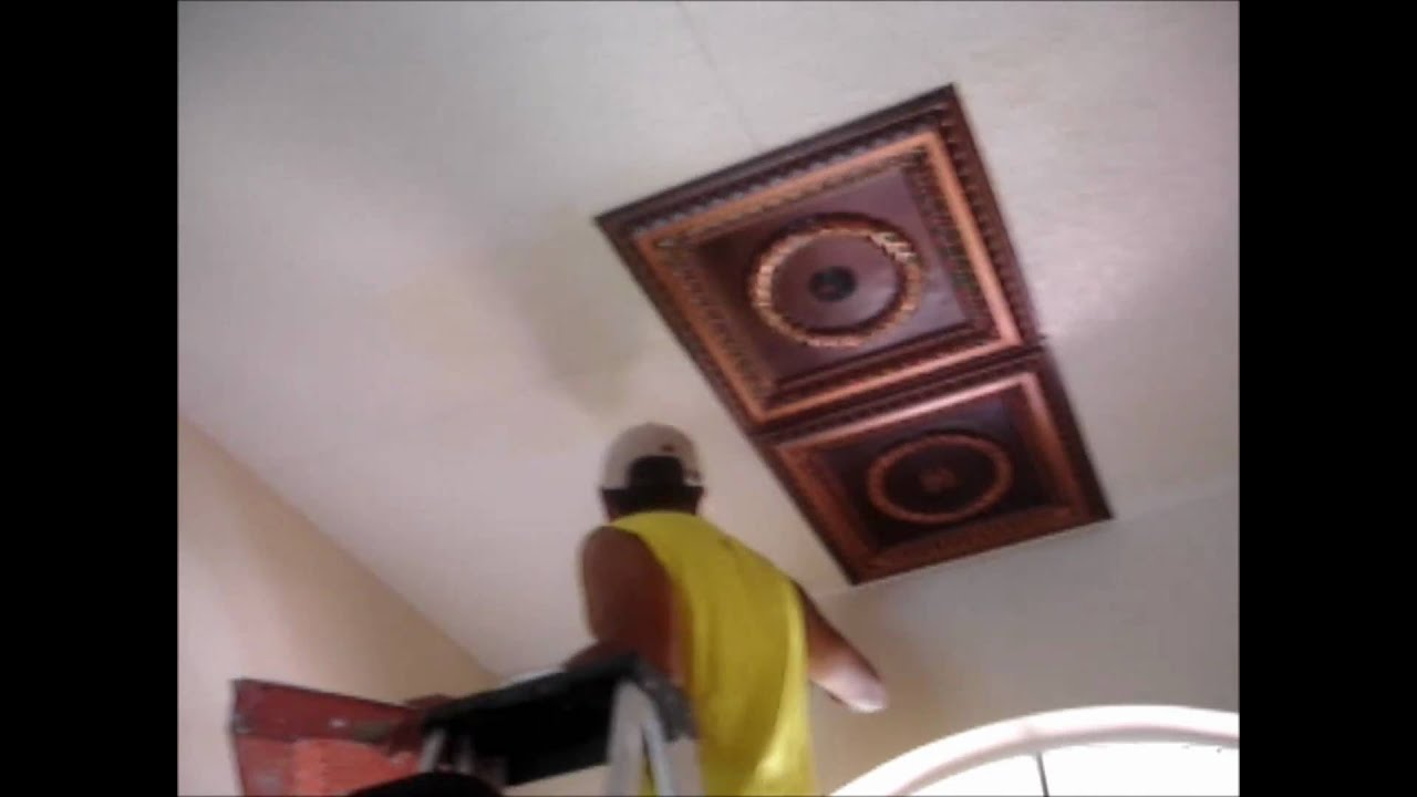 Faux tin ceiling tiles installation video youtube doublecrazyfo Images