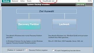 Für Experten: Systembackup auf ein Laufwerk erstellen