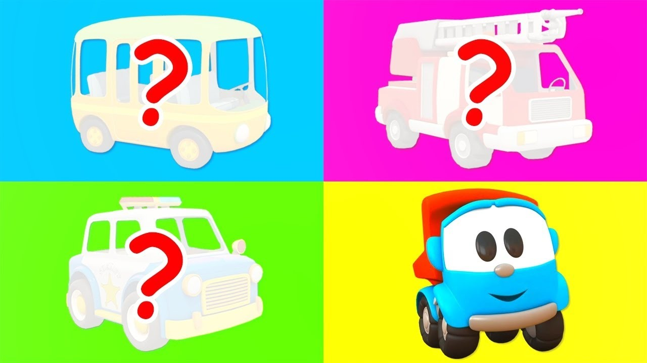 Car cartoons for kids - Leo the truck & street vehicles: Police car, fire truck and bus.