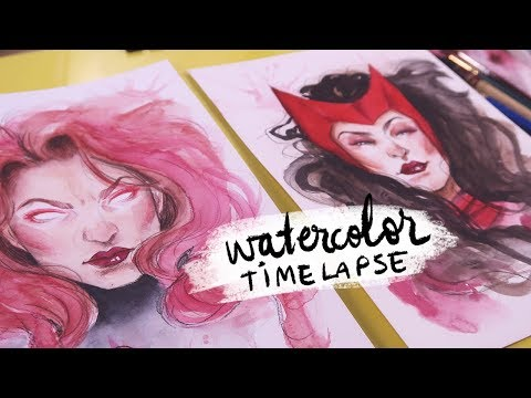 JEAN GREY & SCARLET WITCH | Watercolor Timelapse