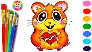 How to Draw Mouse Hamster - Coloring Page - Learn Painting for Kids