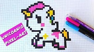 Como dibujar un Unicornio Kawaii- draw / Handmade Pixel Art