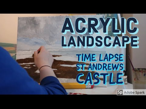 First Time painting an Acrylic Canvas Landscape | St Andrews Castle