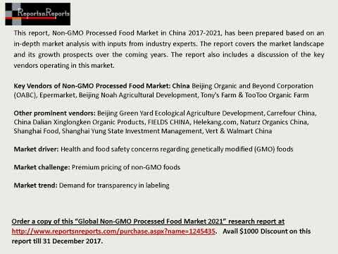 Non-GMO Processed Food Market Size, Growth, Trends and 2021 Forecasts Report