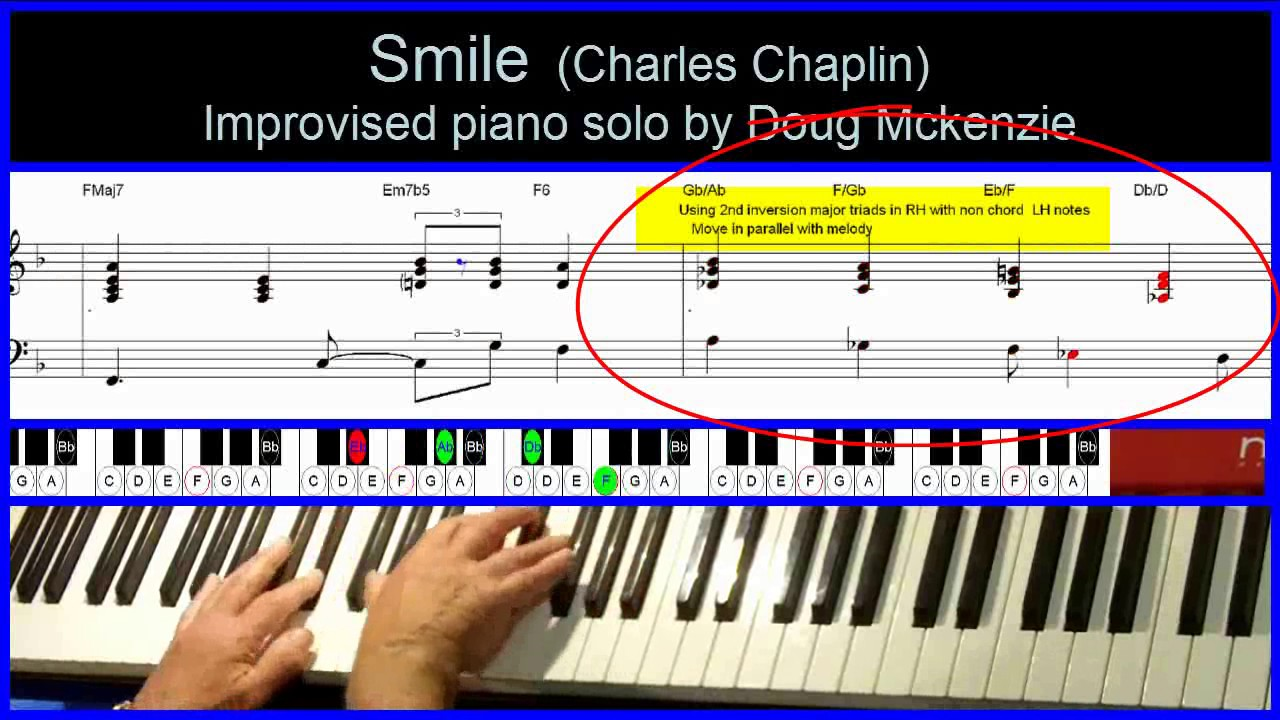 Smile - (Charlie Chaplin) - jazz piano tutorial