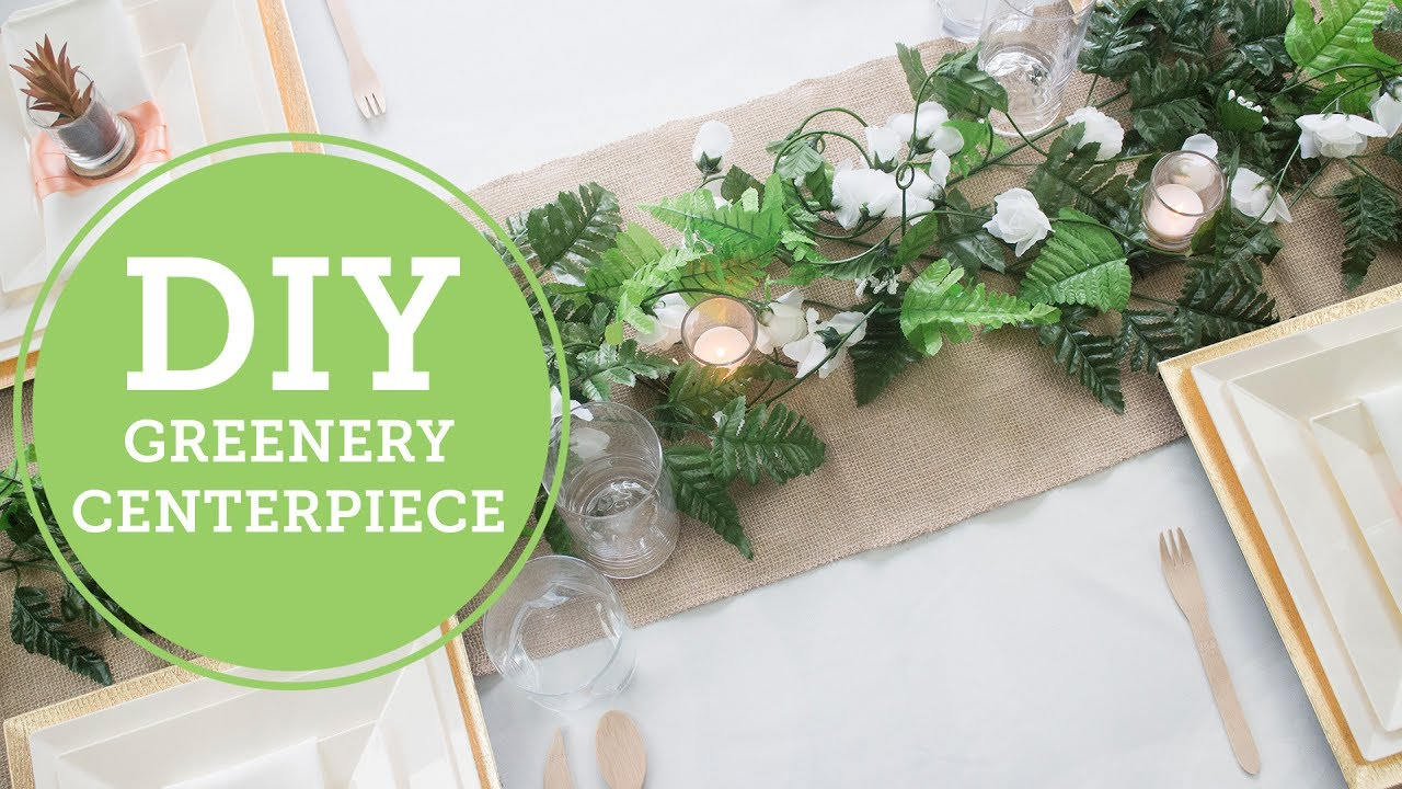 Diy greenery wedding rustic garland runner balsacircle youtube diy centerpiece solutioingenieria Images