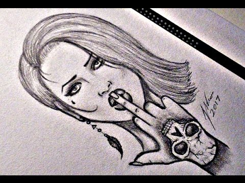Drawing Mad Girl Tattoo Design Youtube