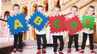 Learn ABC with English Alphabet | Five little Babies Jumping on the Bed Song for Kids by Elya TV