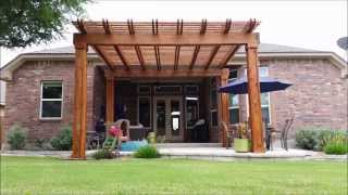 Pergola, Patio With Flagstone Banding, Flagstone Slab Walkway, Landscape
