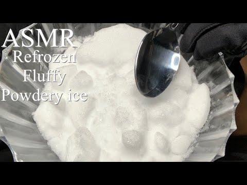 ASMR Refrozen Fluffy Powdery Ice | Big Bites