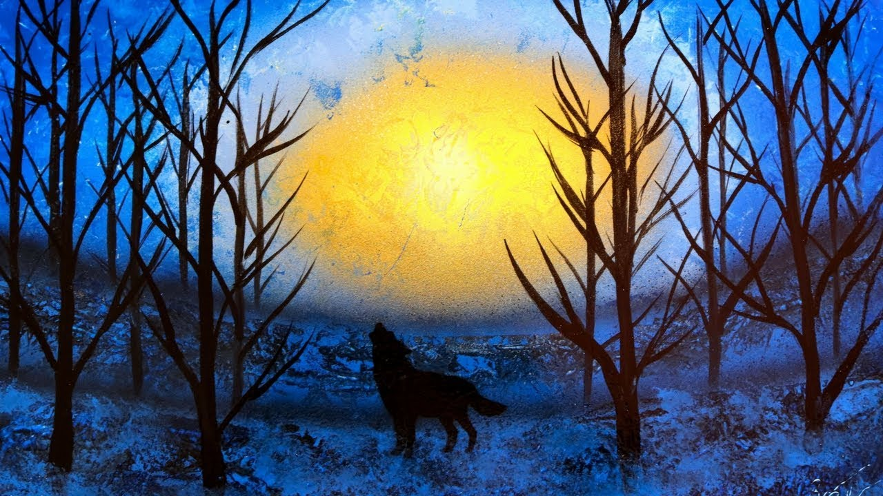 Spray Paint Painting Video Of Night Time Wolf In The Woods