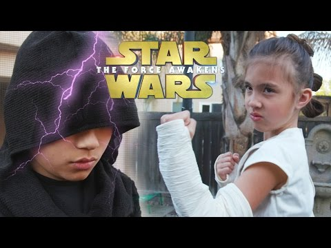 Rey Hair Tutorial + Epic STAR WARS Trampoline Battle! Triple Buns vs. The Dark Side