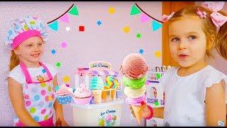 Стефания и Алиса играют в магазин мороженого Видео для детей 0+
