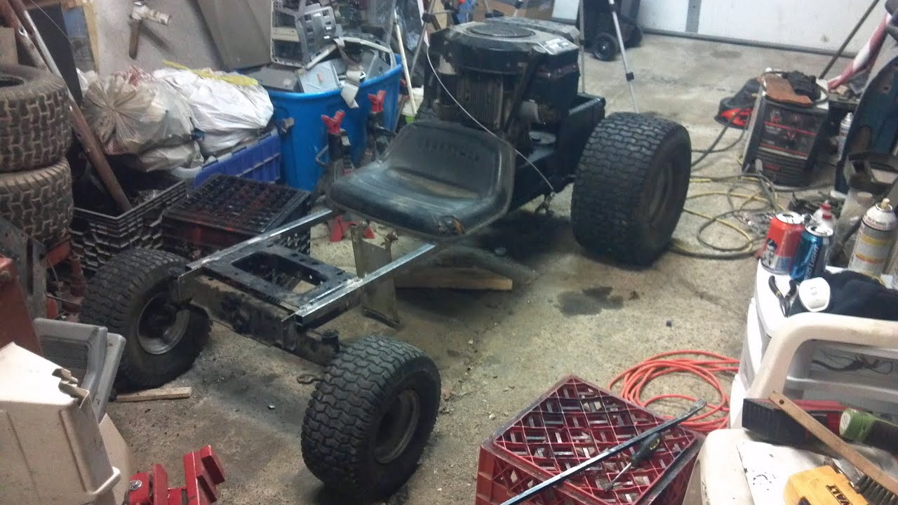 Craftsman Go Kart : Go kart mower part frame and steering first attempt
