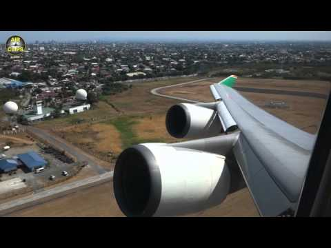Boeing 747-400 of EVA Air Full Performance Takeoff from Manila to Taipei [AirClips]
