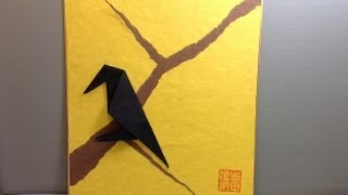 Crow On An Autumn Branch - How To Make An Origami Display Shikishi