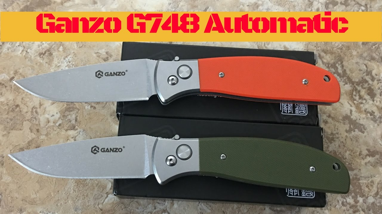 ganzo g748 automatic knife in green and orange g10 great budget