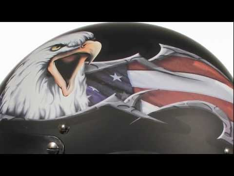 Outlaw X177 American Flag And Eagle DOT Half Helmet At LeatherUp.com